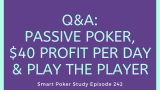 Passive Poker, $40 Profit per Day and Play the Player | Q&A #242